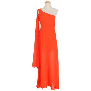One Shoulder Chiffon Beach Vacation Dress