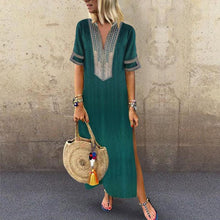 Load image into Gallery viewer, Sexy Side Split V Neck Printed Casual Dresses