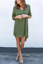 Load image into Gallery viewer, Chiffon Asymmetric Hem Plain Shift Casual Dresses