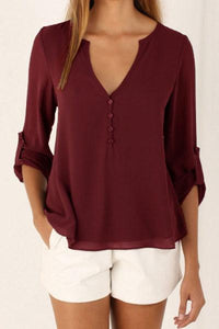 Chiffon Deep V Neck Single Breasted Blouses
