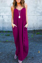 Load image into Gallery viewer, Spaghetti Strap  Loose Fitting Slit Pocket  Plain  Sleeveless Maxi Dresses