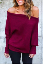Load image into Gallery viewer, Open Shoulder Plain Batwing Sleeve Sweaters