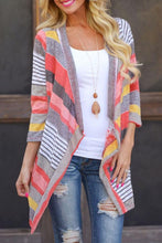 Load image into Gallery viewer, Asymmetric Hem Snap Front  Printed Cardigans