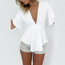 Load image into Gallery viewer, Deep V Neck  Asymmetric Hem  Back Hole Belt Loops  Plain Blouses
