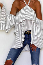 Load image into Gallery viewer, Halter  Striped  Bell Sleeve  Blouses