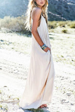 Load image into Gallery viewer, Spaghetti Strap  Asymmetric Hem  Plain  Sleeveless Maxi Dresses