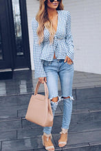 Load image into Gallery viewer, Deep V Neck  Gingham  Bell Sleeve  Blouses
