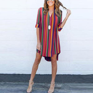 Deep V-Neck  Striped  Roll-Up Sleeve Casual Dresses