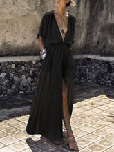 Load image into Gallery viewer, V-Neck  Elastic Waist  Plain Maxi Dress