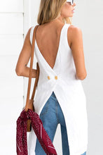 Load image into Gallery viewer, Round Neck  Asymmetric Hem Backless  Plain  Vests