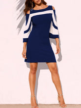 Load image into Gallery viewer, Boat Neck  Color Block Bodycon Dress