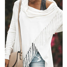 Load image into Gallery viewer, Asymmetric Hem Tassel Cardigans