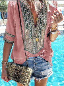 Ethnic Style Striped V-Neck Casual Blouses
