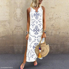 Load image into Gallery viewer, Casual V Collar Floral Printed Loose Maxi Dress