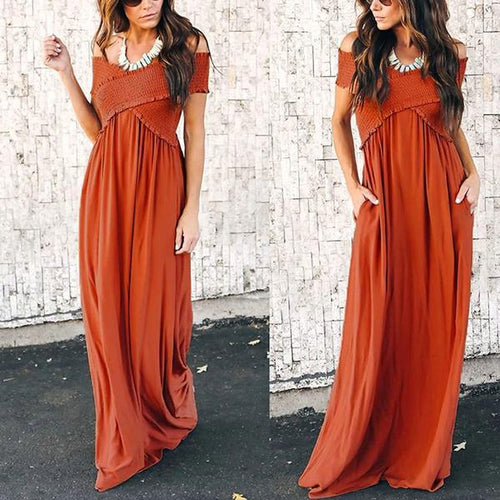 Sexy V-Neck Off-Shoulder Maxi Dress