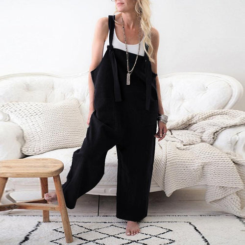 Fashion Spaghetti Straps Sleeveless Pocket Wide Leg Jumpsuits
