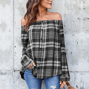 Sexy Off Shoulder Plaids Printed Long Sleeve Button Blouses