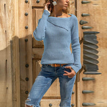 Load image into Gallery viewer, Asymmetrical Collar Long Sleeve Plain Knitting Sweaters