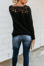 Load image into Gallery viewer, Asymmetric Neck  Decorative Lace  Plain Sweaters