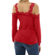 Load image into Gallery viewer, V Neck Lace Patchwork Hollow Out Long Sleeve T-Shirts