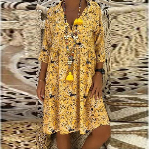 Ethnic Style V Collar 3/4 Sleeves Floral Printed Shift Dresses