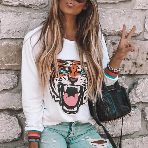 Casual Tiger Printed  Loose Long Sleeve Blouse T-Shirts