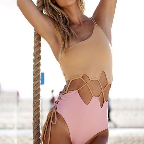 Lace-Up  Color Block One Piece