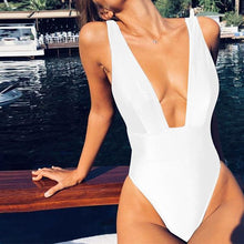 Load image into Gallery viewer, Deep V-Neck  Plain One Piece