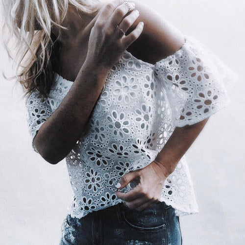 Sexy V-Neck Strap Lace Short Sleeves T-Shirt