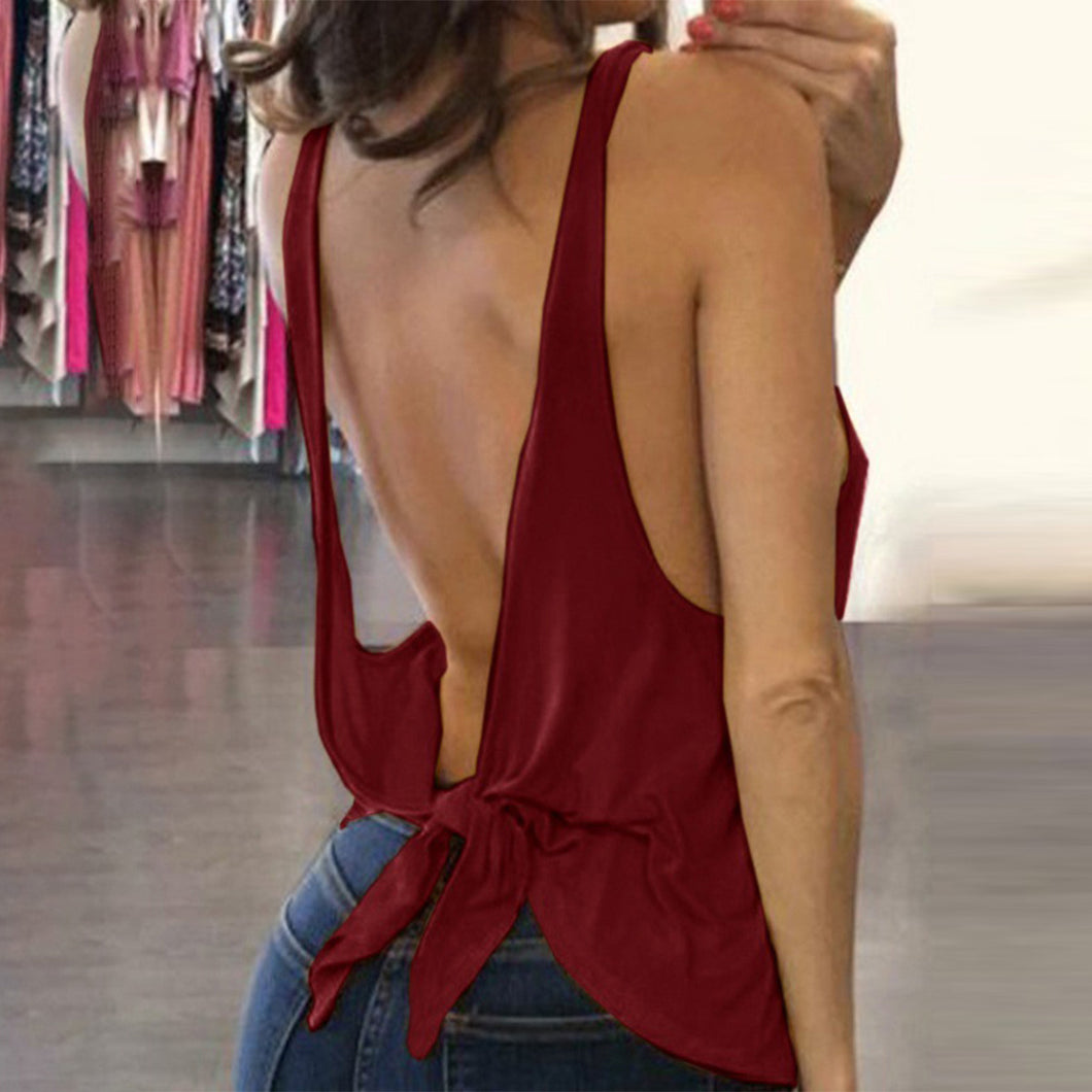 Scoop Neck Backless Sexy Camis