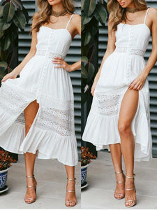 Sling Stitching Open Back Bow Dress