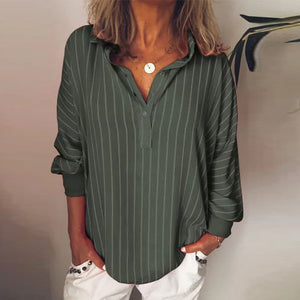 Button Neck Long Sleeve Striped Casual Loose Blouses