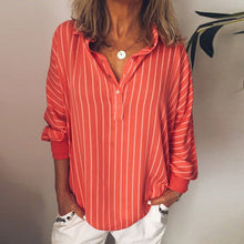 Load image into Gallery viewer, Button Neck Long Sleeve Striped Casual Loose Blouses