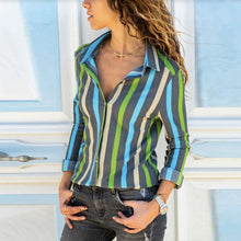 Load image into Gallery viewer, Small Lapel Striped Long Sleeve Casual Blouses