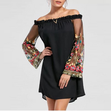 Load image into Gallery viewer, Off Shoulder Patchwork See-Through Embroidery Shift Dress