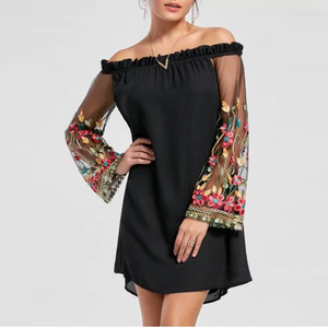 Off Shoulder Patchwork See-Through Embroidery Shift Dress