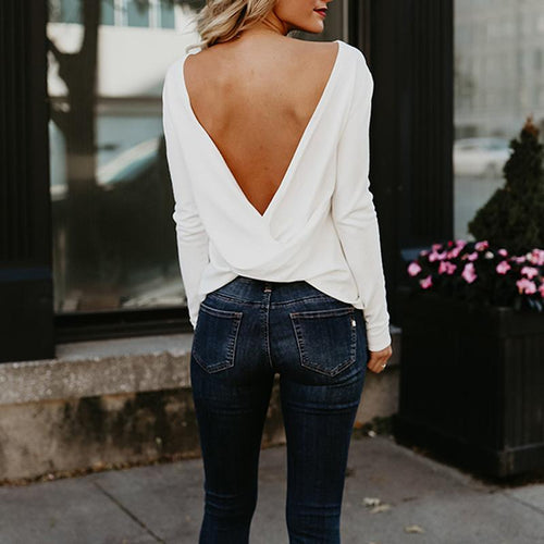 Sexy Round Neck  Asymmetric Hem Backless  Plain T-Shirts