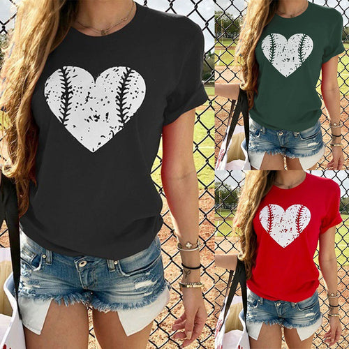 Round Neck Heart Printed Short Sleeve T-Shirts