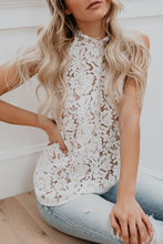 Load image into Gallery viewer, Band Collar Open Shoulder  Decorative Lace  Lace  Blouses