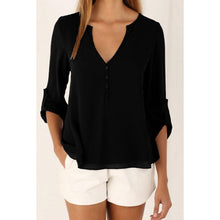 Load image into Gallery viewer, Chiffon Deep V Neck Single Breasted Blouses