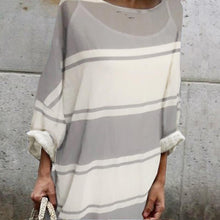 Load image into Gallery viewer, Cotton Round-Neck Stripe Two Pieces Maxi Dress