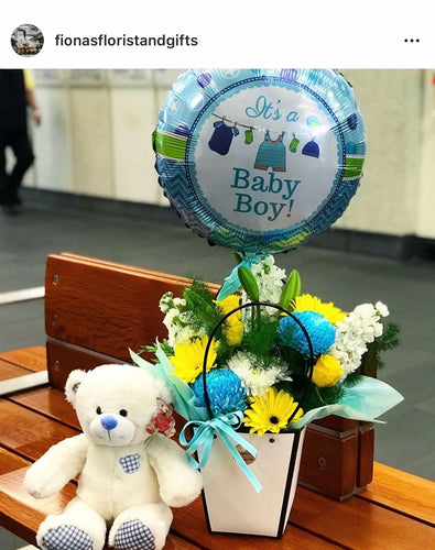 BABY PACKAGE - FLOWERS TEDDY & BALLOON