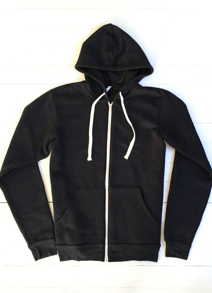OCN Eco Slider Zip Up Black Hoodie - West Marin Surf Club