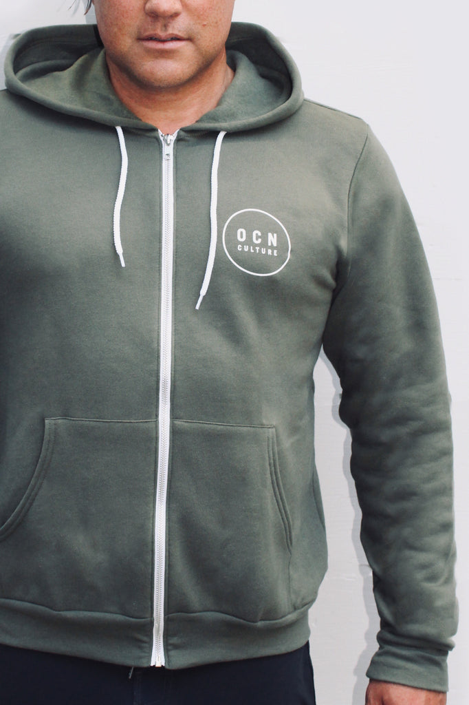 OCN ZIp Up Military Green Zip Hoodie