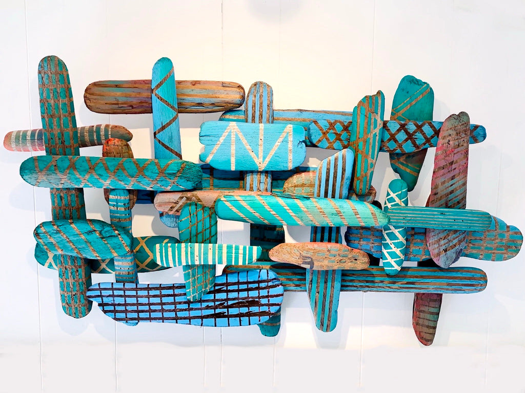 Green Grow, 2021  Installation/ Acrylic on Drift Wood - Leo Bersamina, Artist/ Waterman