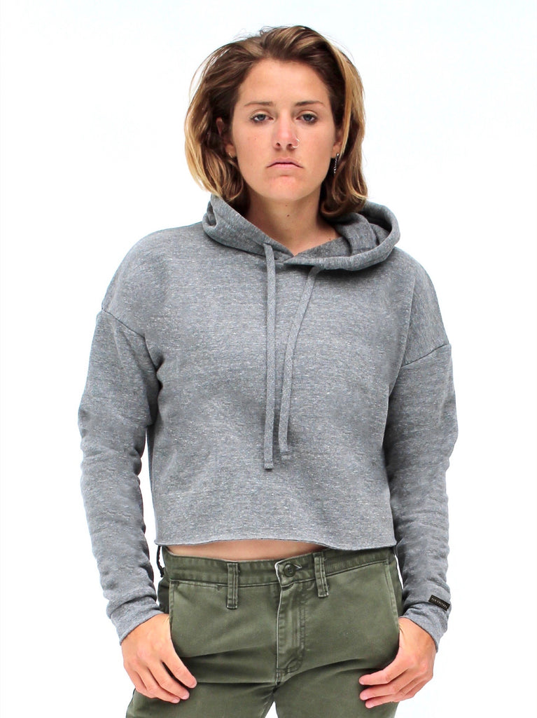 Crop Fresh Water Pearl Heather Grey Eco Hoodie