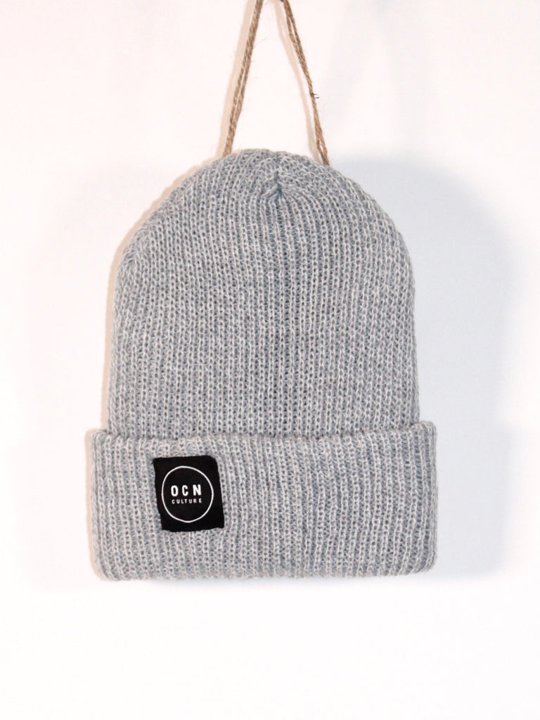 OCN Heather Rolled Cuff Grey Glass Beanie