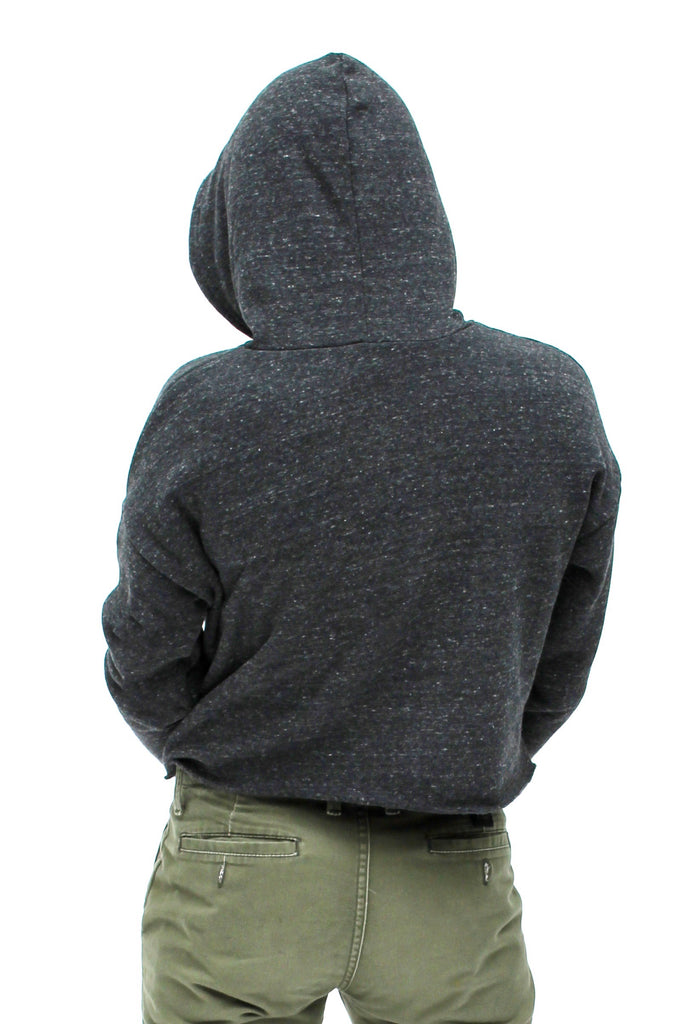 OCN Crop Tahitian Pearl Heather Black Eco Hoodie