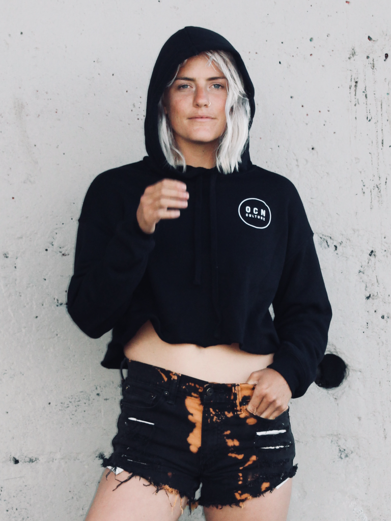 Crop Storm Rider Black Fleece Hoodie