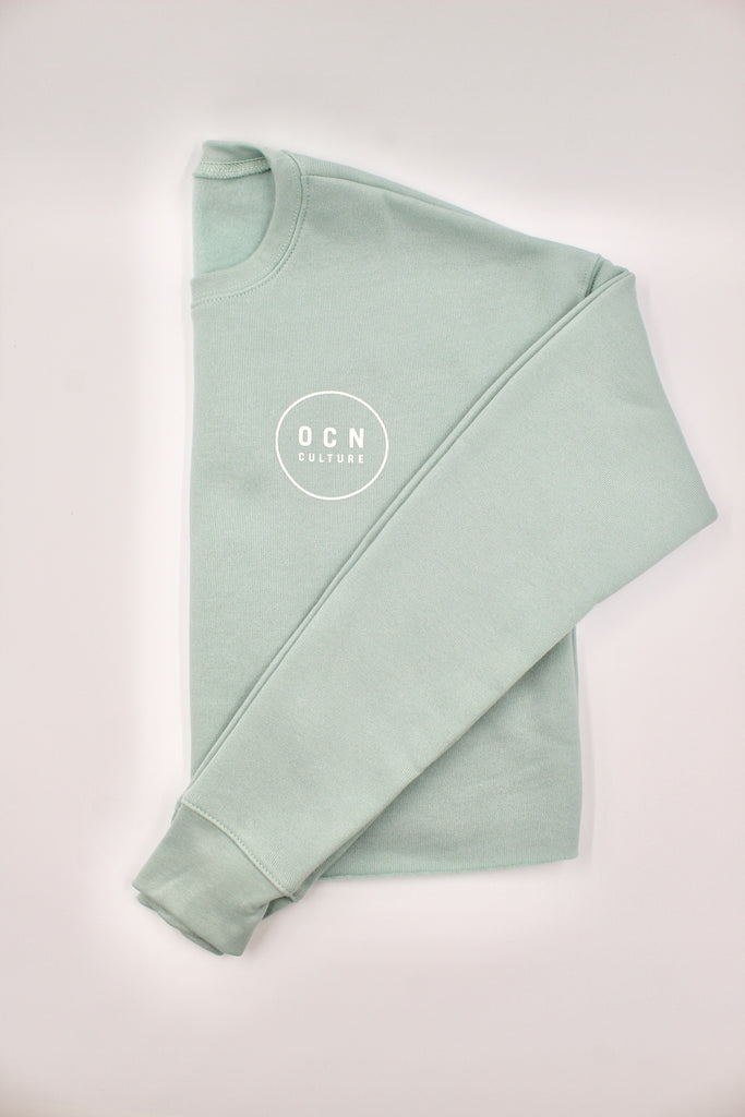 Crop Sea Foam Fleece Crew